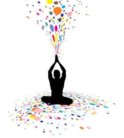 mind body soul: Un giovane uomo facendo yoga silhouette nella creazione di un potere di natura, illustrazione Vettoriali