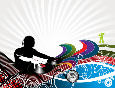 tunes: Abstract  illustration of an dj man playing tunes with music wave background.