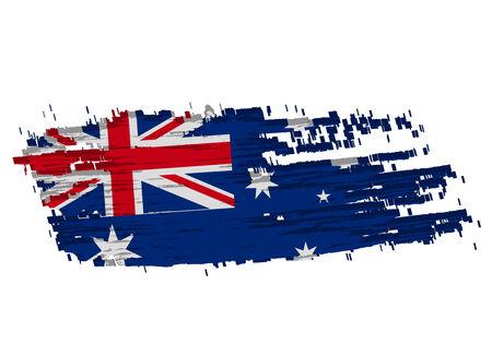 grunge australian flag in the shape of Australia including Tasmania  Vector