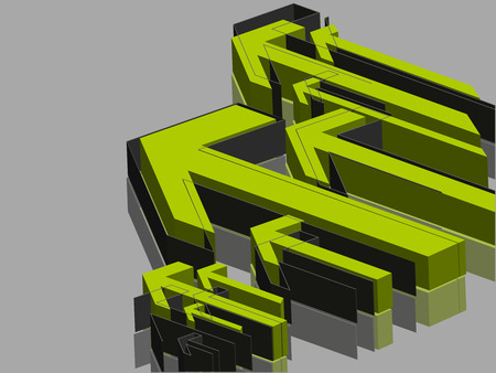 3 point perspective: Abstract  3D arrows green   background.