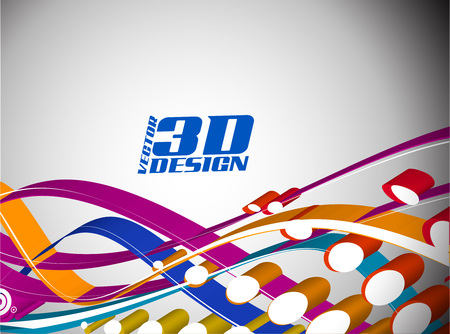 3D Halftone colorful retro dots forming a wave background. Vector