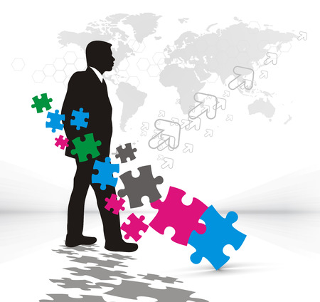 abstract illustration of business man with puzzle pieces.