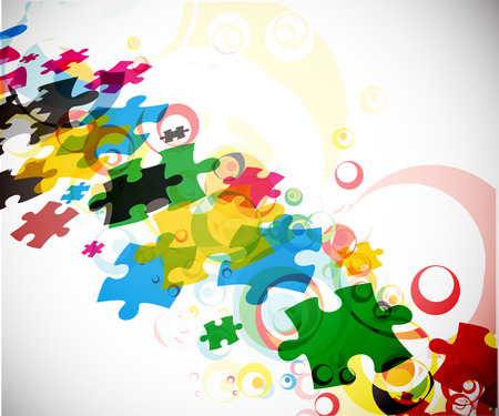 fun game: abstract  illustration of puzzle pieces.
