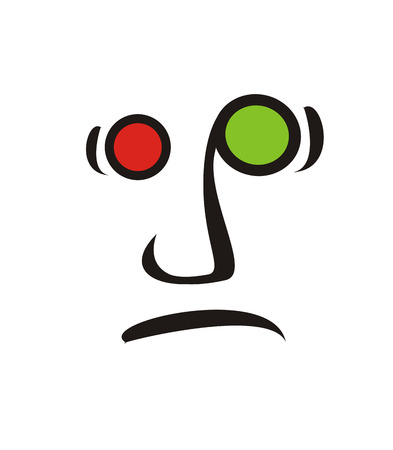 facial features: funky face sad icon,   illustration.