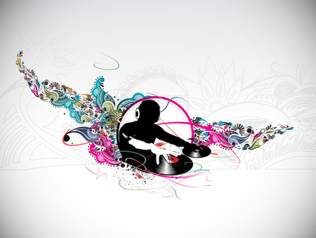 hand beats: Abstract   illustration of an dj man playing tunes with music note background.  Illustration