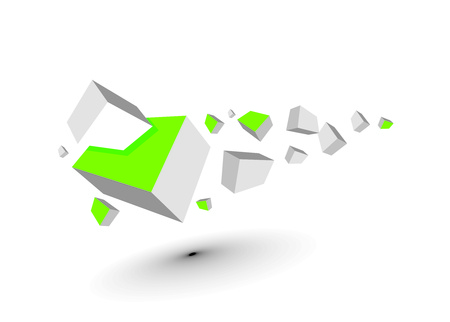 whitem: 3d composition of cubes, illustration.