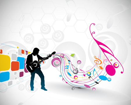 recording studio: silhouette music men play a guitar with color wave line background,   Illustration