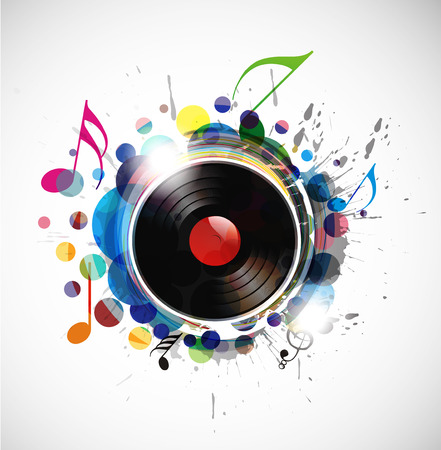 dj turntable: vinyl record on colorful background,   illustration.