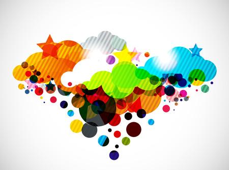 Ilustración de diseño de la nube colorido abstracto.