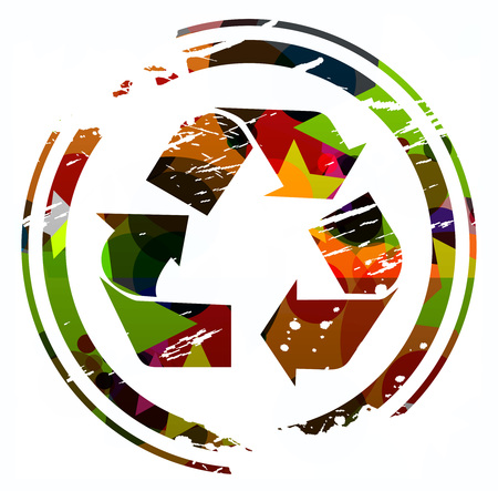 grunge colorful recycling icon design. Vector