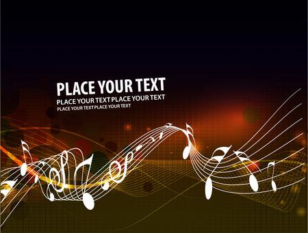 Music notes wave line for design use,  illustration  Illustration