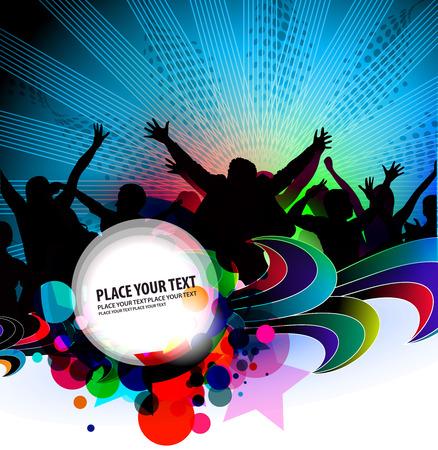 party dj: silhouette de danse des personnes avec fond de banni�re de parti.
