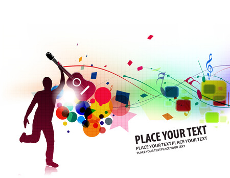 Rock star with a guitar isolated over colorful illustration.  Vector