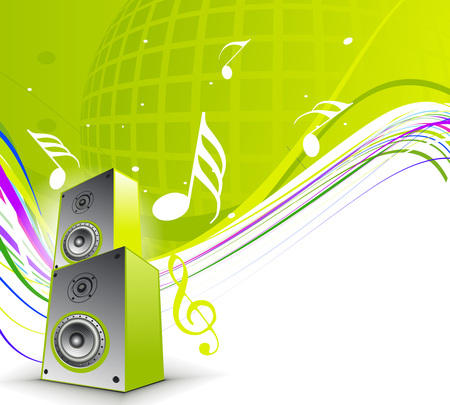 singing silhouette: abstract musical theme with speakers background,  illustration