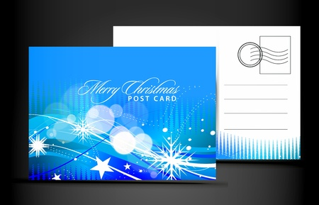reverse: christmas post card, isolated on illustration background,  illustration Illustration