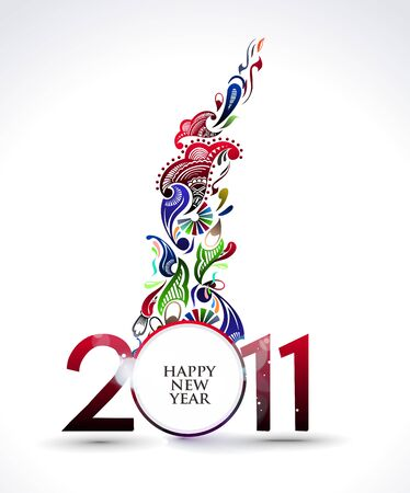 happy newyear: new year 2011 in white background.   illustration Illustration