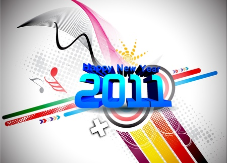 abstract new year 2011 colorful design.    illustration Vector