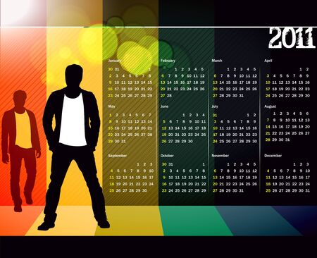 colorful 2011 calendar design element. Stock Vector - 8238380