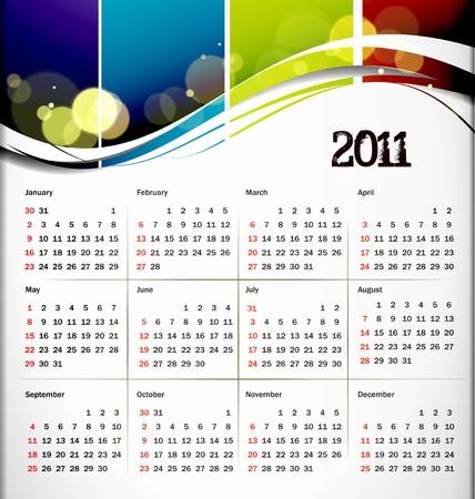 colorful 2011 calendar design element. Stock Vector - 8238378