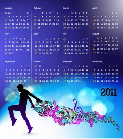 calendar design:   colorful 2011 calendar design element.
