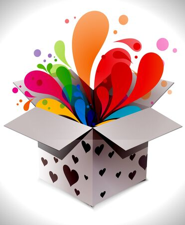 magic box: gift box abstract illustration full of colors, illustration