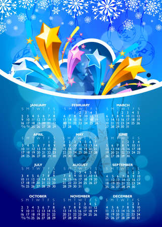 abstract new year 2011 calendar with colorful design.  illustration Vector
