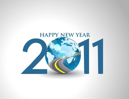 new year 2011 in colorful background design.  illustration Vector