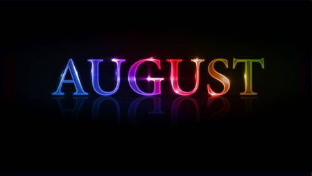 months of the year:   illustration - colorful august design element.