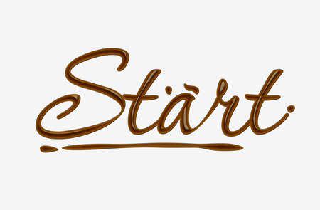 Chocolate start text made of chocolate   design element. Vector