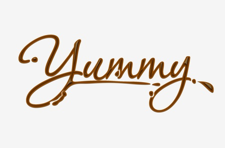 yummy: Chocolate yummy text made of chocolate  design element. Illustration