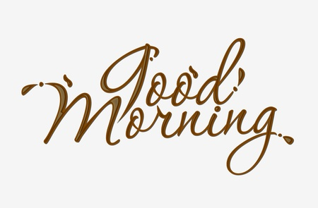good morning: Chocolate good morning text made of chocolate design element.