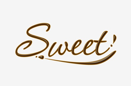 Chocolate sweet text made of chocolate   design element.