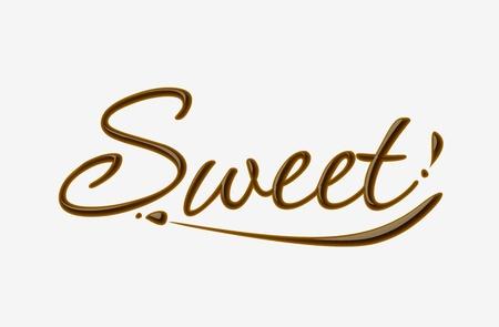 Texto de dulce chocolate hecho de elemento de diseño de chocolate. Ilustración de vector