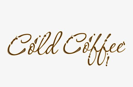 cold coffee: Chocolate cold coffee text made of chocolate design element. Illustration