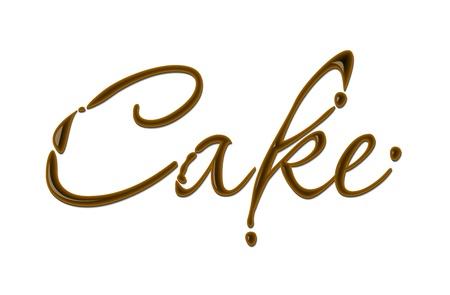 addictive: Cake text made of chocolate  design element. Illustration