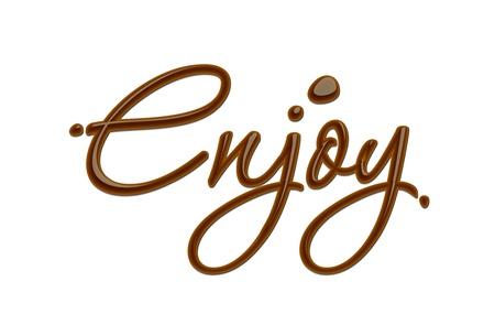 Enjoy text made of chocolate design element.