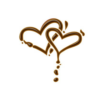 chocolate melt: Simbolo di cuore cioccolato per elemento di design di San Valentino. Vettoriali
