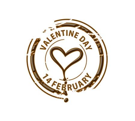 melted chocolate: Chocolate stamp symbol for valentine design element. Illustration