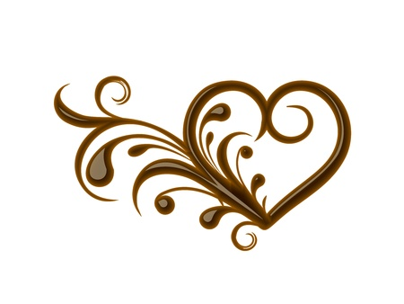 melted chocolate: Chocolate floral heart for valentine design element. Illustration