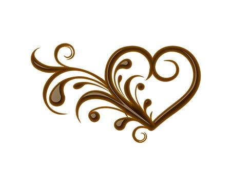 chocolate curls: Chocolate floral heart for valentine design element. Illustration