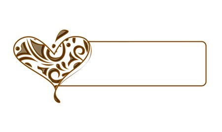 cacao: Chocolate banner heart for valentine design element.