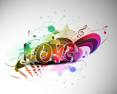 music 3d: Abstract valentines day colorful grunge 3d love design element background.