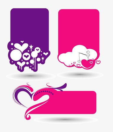 Abstract valentines day banner design,  It includes three color versions  Vector
