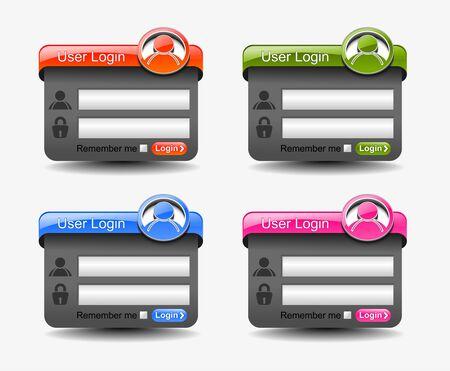 personal banking: Web elemento modello della form di login, comprende quattro versioni per il vostro web design.