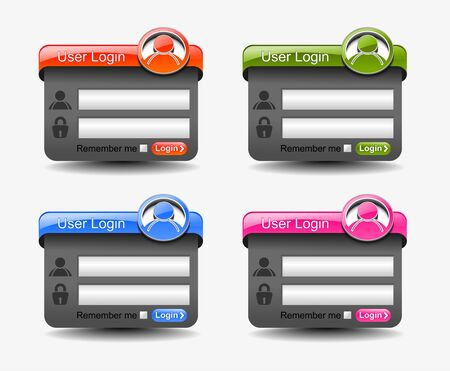 web login form template element, includes four versions for your web design. Vector