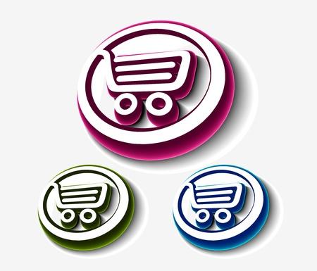 vector shopping cart set, includes three versions. Stock Vector - 8958261