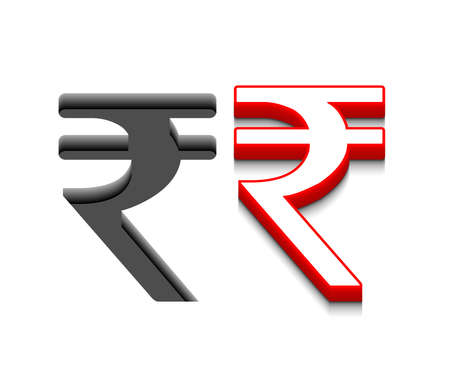 fiscal: 3d vector symbol rupee design with isolated on white.