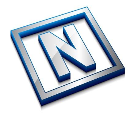 3d vector web design alphabet symbol - N Vector
