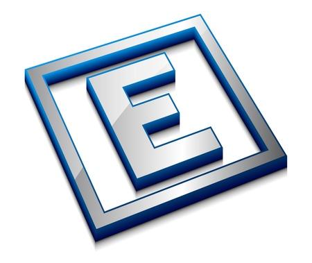 3d vector web design alphabet symbol - E Vector