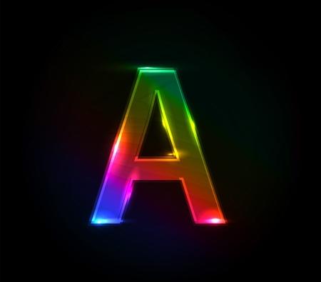 balck and white: One letter of colorful alphabet design elemnt. Illustration